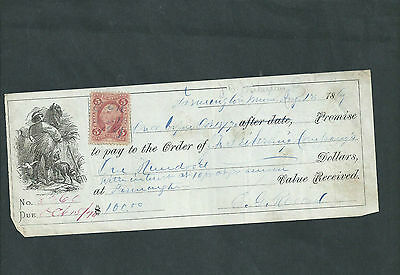 USA 1869  5c REVENUE  STAMP ON PROMISE TO PAY ORDER.
