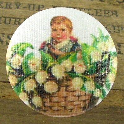 Charming Fabric Button - Child in a Basket of Lily of the Valley Flowers