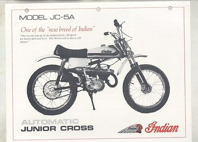 1972 Indian JC5A Automatic Junior Cross 50 Motocross Motorcycle Brochure ww4948