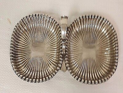 Rare Vtg Antique Gorham Leamington Sterling Silver Double Dish Tray W/ Handle