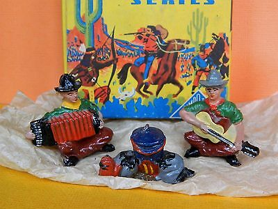 TIMPO TOYS VINTAGE 50s BOXED LEAD COWBOY SET #2017 ACCORDIAN, GUITAR & CAMP FIRE
