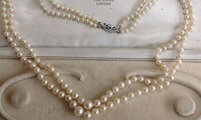 ANTIQUE 2 ROW GRADUATED SALTWATER PEARL SAPPHIRE DIAMOND 9ct Gold Clasp NECKLACE