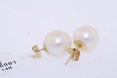 14k Yellow Gold 9.0-9.5mm Genuine Freshwater Cultured White Pearl Stud Earrings
