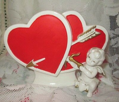 Vintage Valentine's Day Lefton Double Heart Shaped Planter w Cupid Arrows Bow