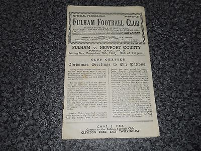 FULHAM  v  NEWPORT COUNTY  1946/7  ~ DECEMBER 26th  BOXING DAY  ***FREE POST***