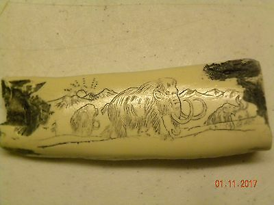 Scrimshaw MAMMOTH BONE FIRE STARTER HANDLE RESIN REPLICA. 5&1/4 INCHES LONG