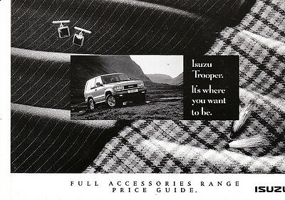 Isuzu Trooper,Full Accessories Range Price Guide,Factory Sales Brochure,1992