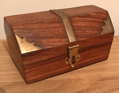 Hand Carved Wooden Box - Treasure Chest Brass Corners Jewellery
