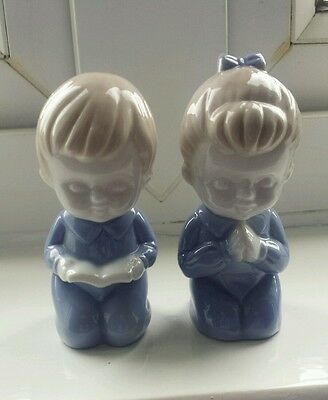 Pair Of Porcelain Children Figures Blue And White