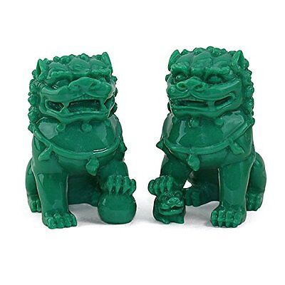 "Feng Shui Pair of 3"" Green Fu Foo Dogs Guardian Lion Statue Paperweights Gift"