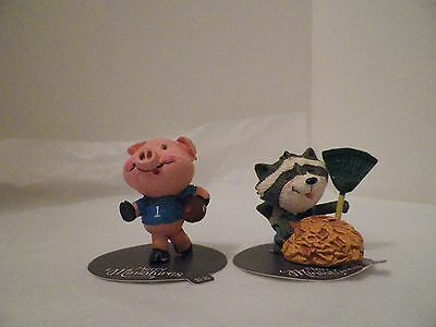 Hallmark Merry Miniatures Set Of Two Pig With Football Raccoon With A Rake