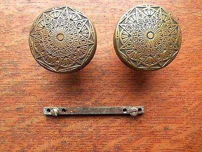 Two Antique Fancy Cast Brass Doorknobs Door Knobs c1880 by Mallory Wheeler