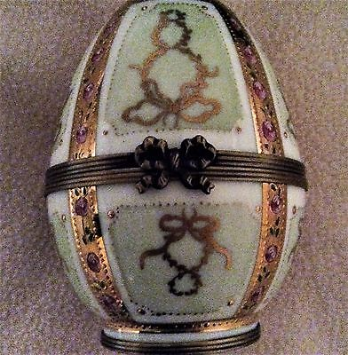 "3"" Faberge by Limoge Easter Egg.  Gold, enameled & jeweled."