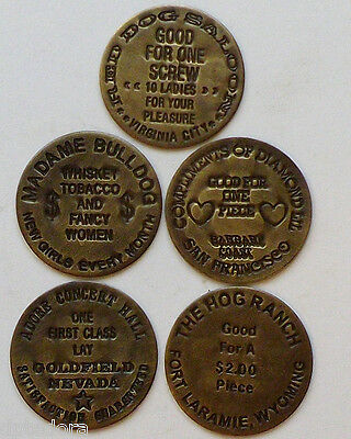 5 Solid Brass Brothel - Cat House Tokens Lot - 5