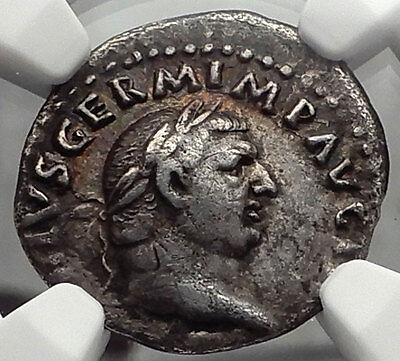 VITELLIUS 69AD Authentic Ancient Silver Roman Denarius Coin Rome NGC VF i58227