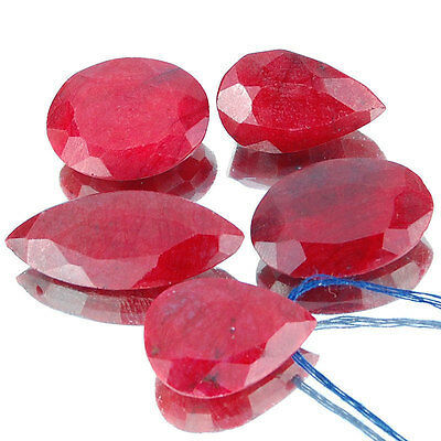 194 Cts/5 Pcs Natural Ruby Pigeon Blood Red Huge Pendant Size Drilled Gemstones