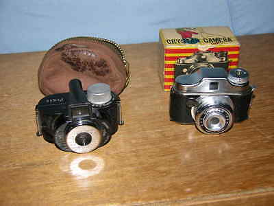 2 Vintage Subminiature Cameras Crystar with Box & Wittnauer Micro 16 Pixie &Case