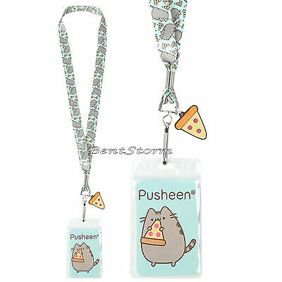Pusheen Cat Pizza Green Lanyard Neckstrap ID Card Holder w/Charm Loungefly NEW