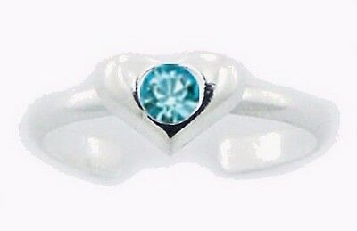 Puffed Heart Toe Ring Swarovski Crystal Sterling Silver 925 Jewelry Aquamarine
