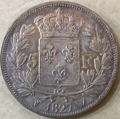 1827W France 5 Francs Silver Coin