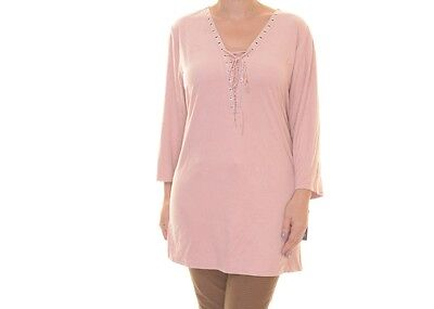 STYLE & CO. Size XL Womens NEW Pink Faux-Suede Blouse Top Blouse Grommet $54 #8U