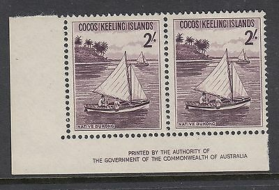 COCOS ISLANDS 1963 2/- DUKONG, Imprint Pair, Mint Never Hinged
