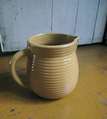 Vintage Monmouth Western Pottery Ring Pitcher Stoneware Yellow Ware Marked