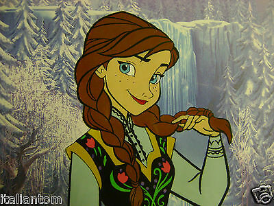 Hand Painted Handpainted Frozen Disney Anna Elsa Olaf Animation Cel Cell Art