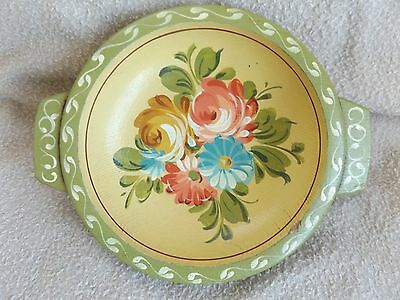 Vintage Hand Painted Wood Toleware Bowl Folk Art Floral Green Yellow Blue