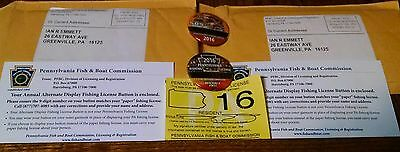 2016 Pennsylvania PA Fishing License + Save Our Susquehanna & Resident Pinback