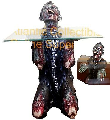 "Begging Chained Slave Walking Undead Zombie Side Table With Glass 22.5""H"