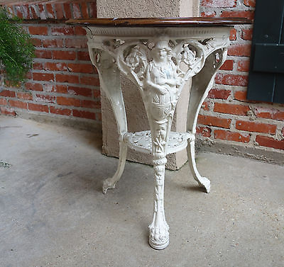 Antique English White Cast Iron Pub Bistro Table Round Patio Table Victorian