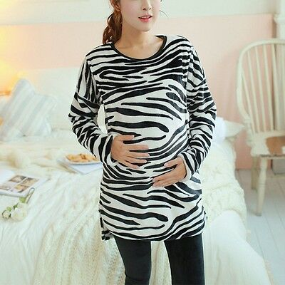 New Pregnant Women Outfits Zebra Pattern Feeding Tops Pants Home Outdoor Clothes