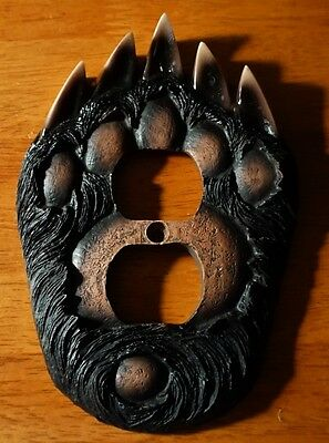 Black Bear Paw Outlet Switch Plate Cover Switchplate Cabin Lodge Decor - New