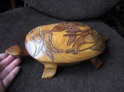 """Unusual Hand Made Wooden Hollow Turtle With Lift Off Shell Carved Bird 13"""" Long"""