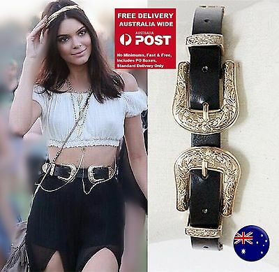 Women Celebrity Style Retro Double Buckle Synthe Leather Party Belt  Waistband