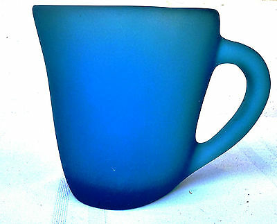 Large frosted blue Art Glass Jug