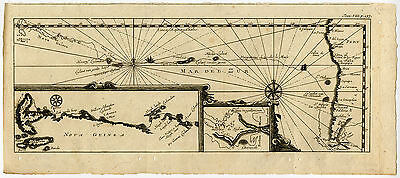 Antique Map-PACIFIC-OCEAN-PERU-NEW GUINEA-Commelin-Renneville-1702