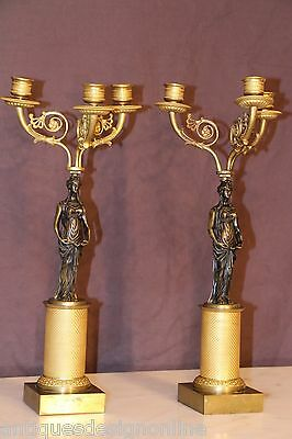 Pair antique French Empire caryatid ormolu candelabra gilt bronze Napoleon 1800s