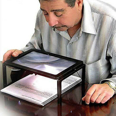 BIG A4 Full Page Large Hands Free Magnifier 3x Magnifying Glass Lens for Reading