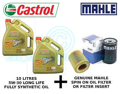 MAHLE Engine Oil Filter OX 163/4D plus 10 litres Castrol Edge 5W-30 LL F/S Oil