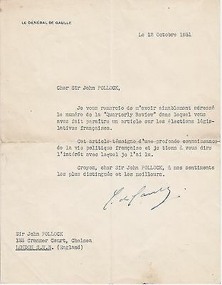GENERAL CHARLES DE GAULLE, Typed Letter Signed about elections, 1951