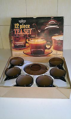 Vintage / Retro VERECO 12 Piece Brown Smoked Glass Tea Set - Made In France