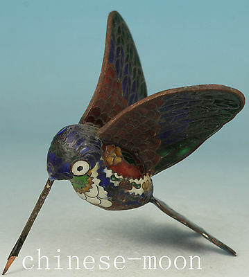 Lovely Chinese Old Cloisonne Handmade Carved hummingbird Statue Figure Ornament