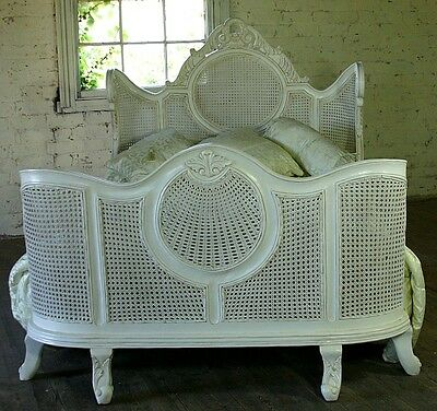 """Louis 4' 6"""" Double French Style Mahogany Rattan Bed Ant White Rococo Brand New"""