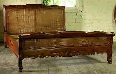 """Reproduction Mahogany Louis Rattan 4'6"""" Double Low End French Style Bed New"""