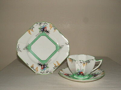 Shelley Art Deco Queen Anne Flame Flowers Tea Trio Truly Stunning