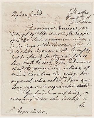 GIBRALTAR. General Eliott, autograph letter signed to Admiral Curtis 1786