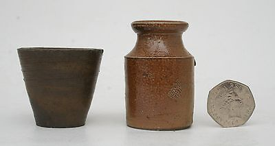 2 x Victorian glazed stoneware ink well and bottle school office