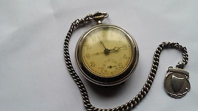 mentor vintage pocket watch and silver chain